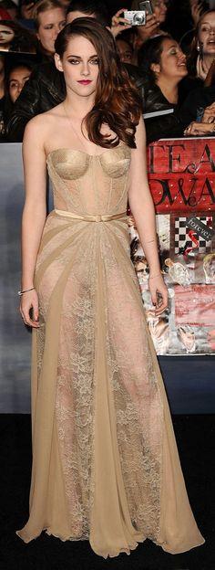 Kristen Stewart in a sheer Zuhair Murad dress.
