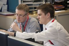 Griff Wood and Simon Eden during a job swap for National Apprenticeship Week 2013