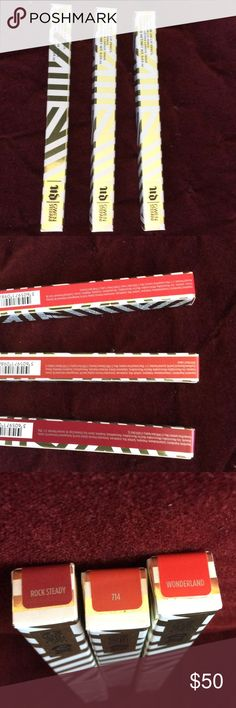 3 urban decay Gwen stefani lip pencils $19 ea Full size. All 3 for $50 or 19 dollars each.  Colors rock steady, wonderland, and 714. Sold out and great wear. 24/7 line. Urban Decay Makeup Lip Liner