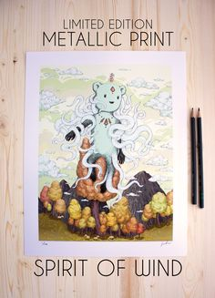 Spirit of Wind by JeyRam Limited Edition print available right now! (only 100 copies ever to be printed). One Step Forward, Yellow Tree, Metallic Prints, Gsm Paper, Woodland Creatures, Kawaii Art, Limited Edition Prints, Animal Drawings, Anime Art