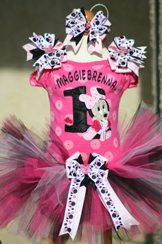 Pink and Black Baby Minnie Mouse birthday by TeenyTinyTwinkles, $60.00