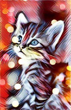 Unique cat art gifts cat print I love my cat cat art