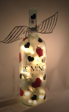 bottle crafts with lights 48 Cute Wine Bottle Craft Decorating Ideas For V. bottle crafts with lights 48 Cute Wine Bottle Craft Decorating Ideas For Valentines Day – H Wine Bottle Art, Painted Wine Bottles, Lighted Wine Bottles, Painted Wine Glasses, Wine Bottle Crafts, Bottle Lights, Beer Bottle, Valentines Day Wine, Valentine Day Crafts
