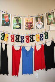Superhero Birthday Party: Decorations and Games! LOVE the superhero cape idea and (seemingly) easy tutorial
