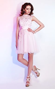 A-line High Neck Short/Mini Lace And Tulle Cocktail Dresses