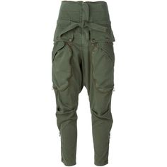 Faith Connexion Drop Crotch Military Trousers ($819) ❤ liked on Polyvore featuring pants, bottoms, pantalones, trousers, green, military trousers, low crotch pants, cotton pants, drop-crotch pants and cotton trousers