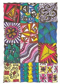 Zentangle Sampler: ~ Here is a Zentangle Style Pattern Sampler filled with a variety of Zendoodles by Janeen  ~~~~~~~~~~~~~~~~~~~~~~~~~~~~~~~~~~~~~~~~~~~~  ..Im still new,