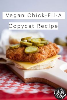 This is an easy vegan recipe for a Chick-Fil-A Chicken Sandwich that you can quickly and easily make at home. This vegan spicy chicken sandwich is made with battered seitan, tangy pickles, and vegan cheese. Vegan Dinner Recipes, Vegan Recipes Easy, Cooking Recipes, Vegan Chicken Burger Recipe, Vegan Fried Chicken, Vegan Sandwich Recipes, Vegan Chicken Nuggets, Meatless Chicken, Vegetarian Recipes