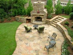 This family-friendly patio with stone fireplace as seen on HGTV is sure to keep you cozy on those cooler nights.
