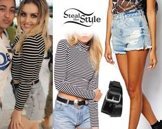Perrie Edwards posed with a fan at Heathrow Airport today wearing an ASOS Crop Top with Polo Neck in Stripe (sold out), shorts similar to the ASOS High Waist Side Split and Rips Denim Shorts ($54.17) and her favourite Topshop Patent Hole Punch Belt (sold out).