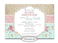 Printable Shabby Chic Baby Shower Invitation