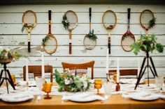 raquetas, tenis, flores, decoración, pared, tennis racket