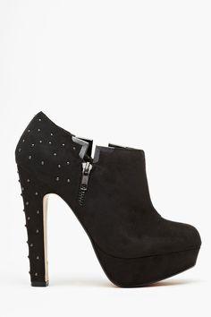 Studded Platform Bootie - Black