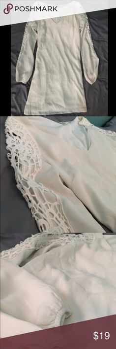White Crotchet Sleeve Dress Super cute, hardly worn white dress!  Brand: Charlotte Russe Size: Small Color: White Shipping always within 24 hours or next business day! Charlotte Russe Dresses Long Sleeve