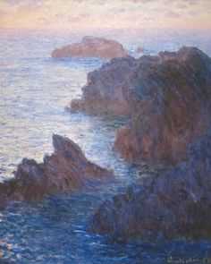 Rocks at Belle-Île Port-Domois Claude Monet 1886  Happy 177th birthday Claude Monet! In the autumn 1886 Claude Monet sought out rugged and barren terrain on the island of Belle-Île-en-Mer off the coast of Brittany. Painting in and around the village of Kervilahouen on the Atlantic side of the island he wrote to fellow Impressionist Gustave Caillebotte Ive been here a month and Im grinding away; Im in a magnificent region of wilderness a tremendous heap of rocks and sea unbelievable for its…