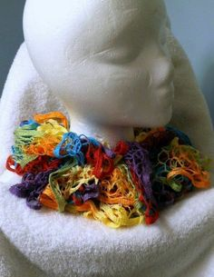 Handmade Multi Color Crochet Ruffle Scarf Nearly 55 inches long