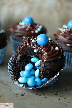 Triple Chocolate Surprise Cupcakes