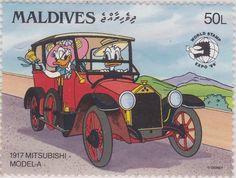 """Donald y Daisy, Mitsubishi Modelo A (1917) """"World Stamp Expo '89"""" 17/11/1989 Maldivas"""