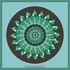 Mandala Teardrops green - crosstitch embroidery pattern - 178 x 177 cross stitches - 32 x 32 cm or 13 x 13 inches