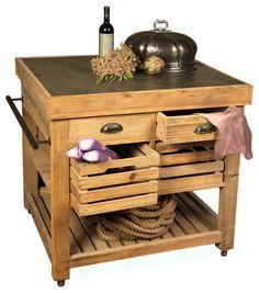 Belaney Rustic Lodge Pine Wood Stone Small Kitchen Island Kitchen Islands  And Kitchen Carts
