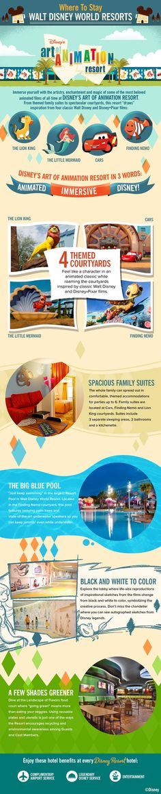 "Immerse yourself with the artistry, enchantment and magic of some of the most beloved animated films of all time at Disney's Art of Animation Resort at Walt Disney World. From themed family suites to spectacular courtyards, this resort ""draws"" inspiration from four classic Walt Disney and Disney•Pixar films."