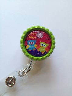 Dancing Owls Retractable Id Badge Reel, Bottle Cap Id Holder, Id Reel Name Badge Holder, Glitter Badge Reel, Cute Owl, Dancing