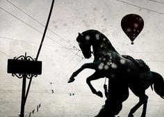 Black and white photography, Horse photography, horse art, Animal photography, Animal wall decor, Horse photo, hot air balloon