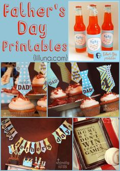 Father's Day Printable Decorative, Card and Label Collection Mother And Father, Mothers, Father's Day Celebration, Party Printables, Free Printables, Daddy Day, Birthday Dates, Holiday Fun, Festive