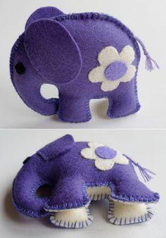 DIY - felt - purple elephant