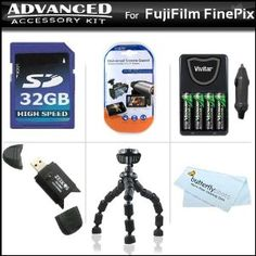 Advanced Accessory Kit For Fujifilm FinePix S1800 12.2 MP Digital Camera Includes Flexible Gripster Tripod + 32GB High Speed SD Memory card + USB 2.0 High Speed Reader + 4AA High Capacity Rechargeable NIMH Batteries And AC/DC Rapid Charger + LCD Screen (Electronics)