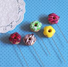 5X Sweet Donuts Pin Topper polymer clay by yifatiii on Etsy, $19.50