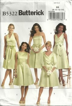 Butterick 5322 Bridesmaid Wedding Dress & Sash in 5 Styles Sewing Pattern Size 8-14 Prom