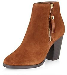 Tan Suede Tassel Side Zipped Block Heeled Boots 2
