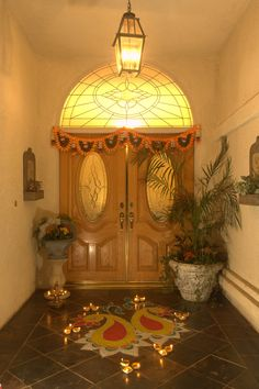 During Deepawali (festival of lights), traditional designs called rangolis are drawn in the house with different colored powders to welcome guests. These rangolis bring warmth and comfort of traditions during this festive season.
