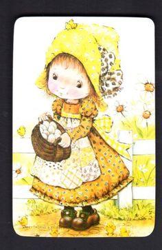 Vintage Swap Card Cute Girl With Basket Blank Back | eBay