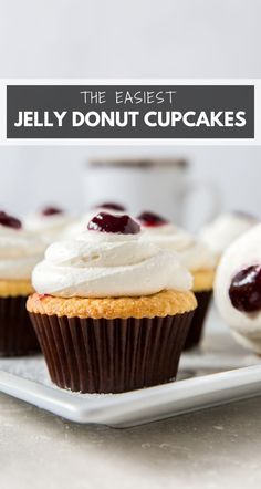 Jelly Donut Cupcakes taste just like your favorite pastry, but in cupcake form. Soft and fluffy cupcakes are studded with strawberry jam and topped with a sweet vanilla frosting. Perfect for an easy dessert! #cupcakes #jellydonuts #jellydonutcupcakes #jamfilledcupcakes #jellyfilledcupcakes #raspberryjam #raspberryjamcupcakes #easycupcakerecipe #dessert Donut Cupcakes, Chocolate Chip Cupcakes, Mini Chocolate Chips, Fluffy Cupcakes, Donuts, Cupcake Cakes, Easy Cupcake Recipes, Best Dessert Recipes, Easy Desserts