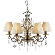 5 arm chandelier in a champagne gold finish and clear glass machine cut prisms