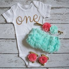 Baby Girl 1st Birthday Outfit Photography Props Gold One Onesie Mint Bloomers Cake Smash Outfit Coral Gold Headband Sandals
