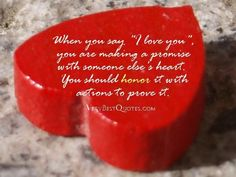 Cute love quotes when you say i love you you are making a promise with someone elses heart