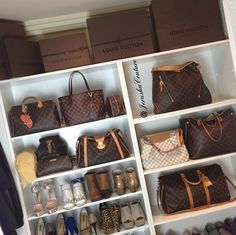 Chic closet by one of my favorite instagramers, Jerusha Couture, with shelves for designer handbags, Louis Vuitton, and designer shoes.