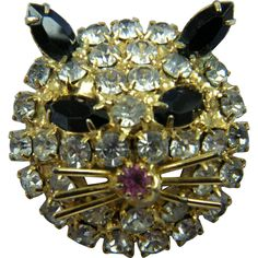 For cat lovers everywhere! This wonderful brooch features loads of prong set rhinestones; the nose red. Cat Whiskers, Cat Jewelry, Brooch Pin, Brooches, Cat Lovers, Ear, Brooch