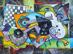 Buy Electronic Music, a Oil on Canvas by Elizabeth Elkin from Canada. It portrays: Still Life, relevant to: Picasso, still life, braque, cubism, electronic, music Electronic Music, oil on canvas This painting was inspired by Pablo Picasso and Georges Braque cubism movement. I did the series of the cubism paintings more than a decade ago and I'm still interested about cubism.