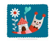 Little Snail Print   Flora Chang, Happy Doodle Land