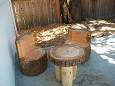 Nature dining room outside. This is a neat little space for children to engage in dramatic play.