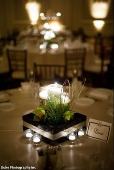 Interesting take on the floating candle centerpiece. It just adds a bit extra, but may be too much.