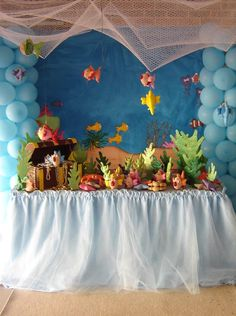 Under the ocean table setting.  Love the balloons (think I'd use pinks, purple, orange and yellow) for coral, also would change the table shirt to twisted green and blue crape paper to represent seaweed.  CAS two cents worth.