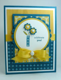 sweet handmade card in yellow and blue ... like the layout and use of patterned papers ... Stampin' Up!