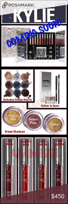 ❄COMING SOON🆕KYLIE HOLIDAY BOX LIMITED EDITION ALL HOLIDAY ITEMS ARE INFUSED WITH DIAMOND POWDER. The LIMITED EDITION HOLIDAY BOX contains: 8 Full-Size Matte Lipsticks: ❄️Koko K ❄️Candy K ❄️Angel ❄️Brown Sugar ❄️Pumpkin ❄️Merry ❄️Vixen ❄️Okurrr  2 Full-Sized Glosses: ❄️Jolly ❄️Naughty  1 Kyshadow Holiday Palette  1 Kyliner Kit in Snow (crisp matte white), containing: ❄️1 Snow Crème Gel eyeliner ❄️1 Snow Pencil Eye Liner ❄️1 full sized synthetic small angled brush  3 Crème Shadows: ❄️Camo…