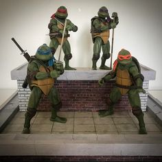 Finally opened my NECA turtles after finishing a rooftop diorama for them to look badass on : TMNT Power Rangers Fan Art, Power Rangers In Space, Batman Tmnt, Tmnt Comics, Ninja Turtle Toys, Teenage Mutant Ninja Turtles, Turtle Day, Mini Turtles, Ghost Busters