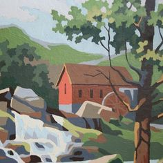 Vintage 1960s Paint By Numbers Creek and Mill 14x10 by sariloaf